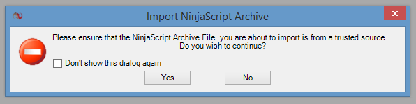 Import NinjaScript Warning