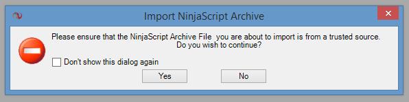 Import NinjaScript Warning