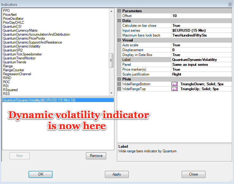 Volatility indcator now installed