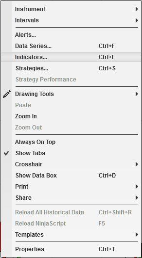 Capture - NinjaTrader 8 chart context menu